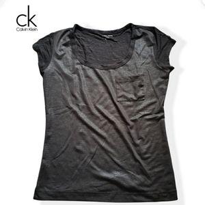 Calvin Klein black tee shirt, illusion leather
